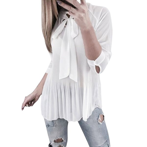 Pleated Work Shirt Women Autumn Long Sleeve Bow Tied Neck Lady Elegant Tops Fashion Loody Solid Color Blouse #10