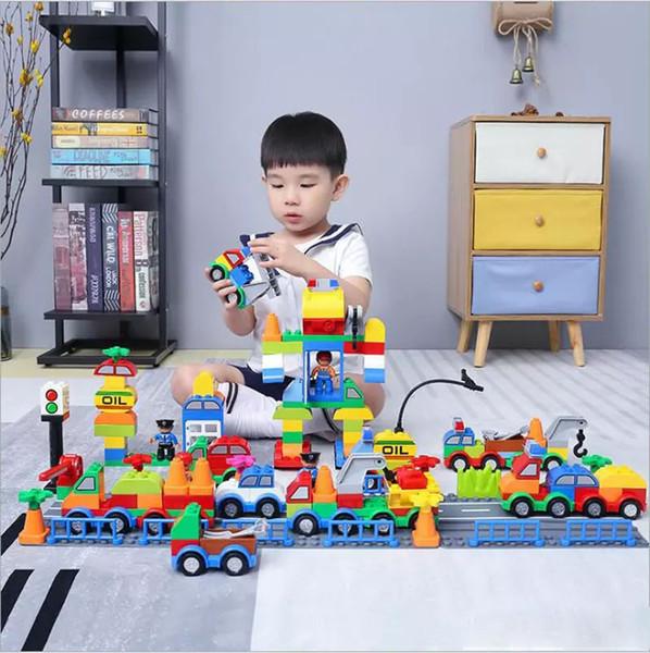 Blocchi di costruzione di plastica Digital Box 106 treno digitale auto building blocks bambini giocattoli Educazione dei bambini di sicurezza ambientale