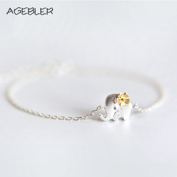 Thailand Style Cute Bracelets for Women Girl Elephant and Flower Accessories Jewelry Silver Plated Trendy Animal Charm Bracelet
