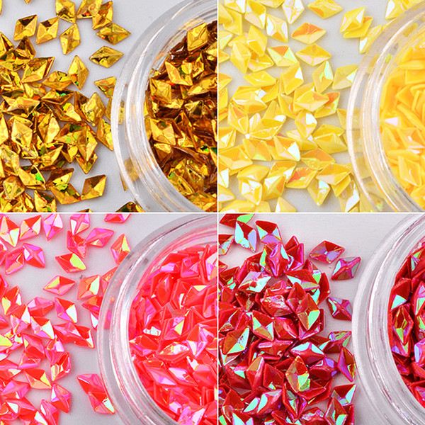 12 color /sets Colorful Laser Hollow Rhombus Sequins 3D Nail Art Decorations Sequins DIY Manicure Glass Rhinestone