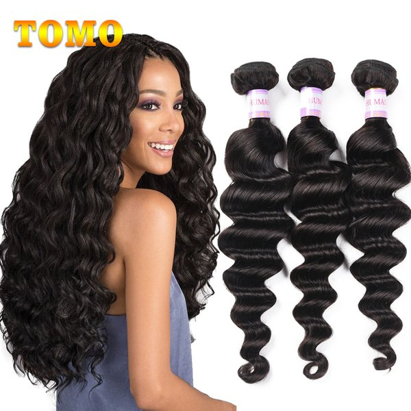 TOMO Brazilian Loose Wave 3 pcs Human Hair Weave Bundles Natural Color Can Buy Mix Inches Bundle Remy Hair Extensions For Black/White Woman