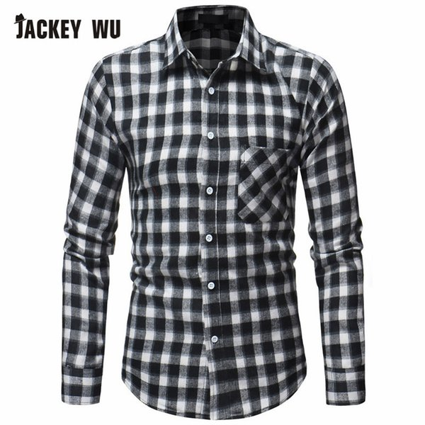 JACKEY WU Men Plaid Shirt 2018 New Casual Slim Fit Long-Sleeved Shirt Men Business Casual Cardigan Large Size Red Black Green
