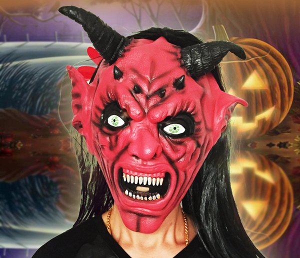 Halloween Red Face Bullhorn Mask, Carnival Bar, Scary Devil, Scary Cover, Red Face Black Hair Mask