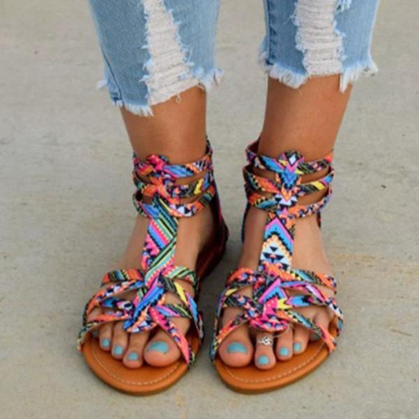 Scarpe basse delle donne della Boemia Gladiatore estivo Sandalo romano Colorful Boho Sandalias Mujer Colorful Beach femminile piatto Plus Size 34-43
