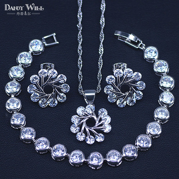 Big Discount Top Quality 925 Sterling Silver Shining CZ Fashionable Necklace Earrings Bracelets Costume Jewelry Sets For Women