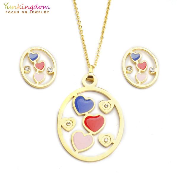 Yunkingdom azul rojo corazón rhinestone conjuntos de joyas para las mujeres de moda de acero inoxidable colgante collar pendiente conjunto UE0156