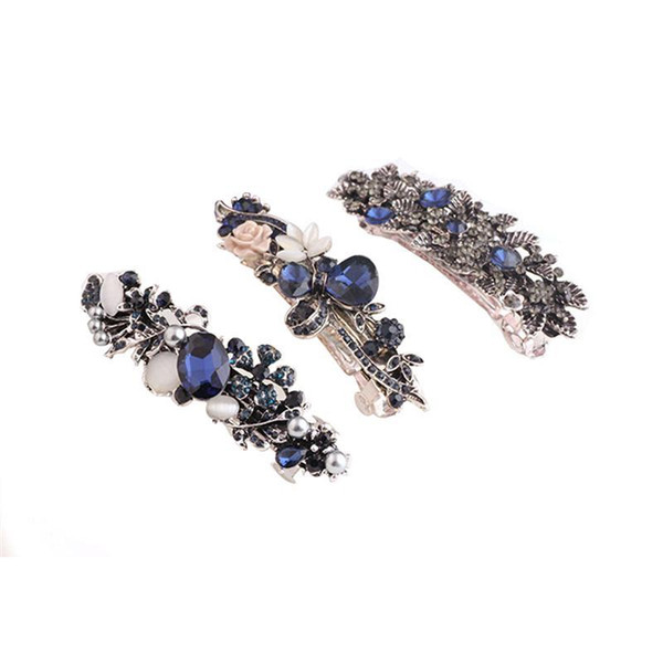 3PCS Crystal Rhinestones Barrettes Bridal Fashion Jewelry Accessory Barrettes Hair Clip for Women Girls Bride C18110901