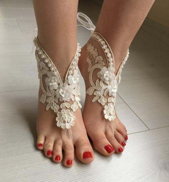 Freies Verschiffen Spitze Fußkettchen 2019 Sandstrand Barfuß Schmuck Günstige Stretch Bein Armbänder Für Hochzeit Brautjungfer Fuß Jewellerys