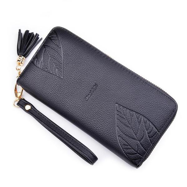 Женские кошельки мягкие искусственная кожа длинные случайные Леди бумажник сумки сцепления кисточкой молния портмоне карты ID держатель Moneybags кошельки