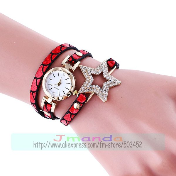100pcs/lot fashion bling crystal star bracelet watch wrap elegance long strap wrist watch wrap around leather bracelet