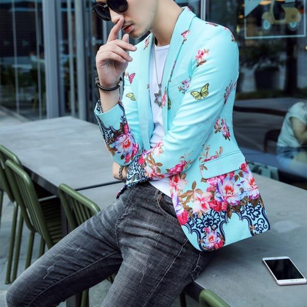 Floral Print Blazer Hombre Mens Stylish Blazer 2018 Autumn Prom Blazers For Men Slim Fit Korean Style Suit Jacket Men