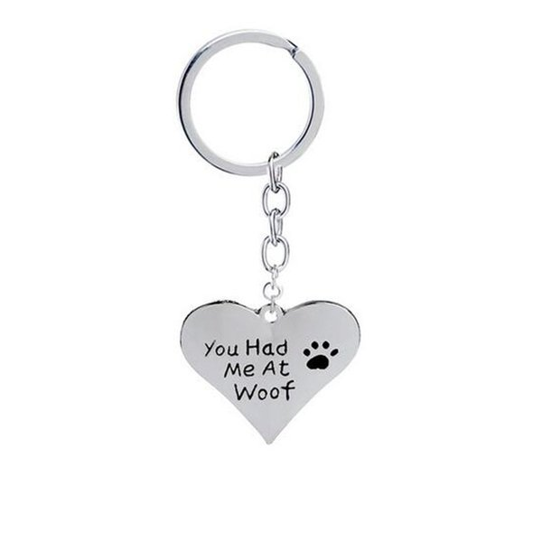 12 adet / grup toptan Köpek Charm Takı Sen Benimle Oldu Woof Paw Baskı Kalp Kolye Anahtar Zincirleri Evcil Aşk