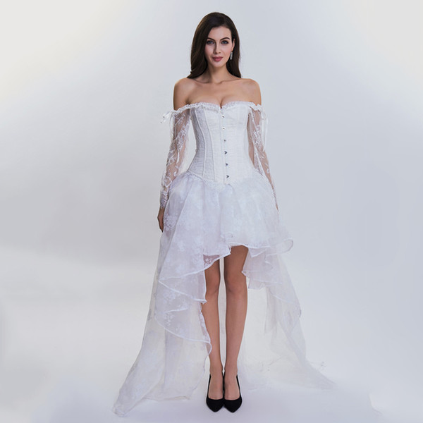 8c7a3e774ae Bridal Corsets And Bustiers White Lace Sleeve Gothic Corset Dress Wedding  Sexy Burlesque Outfit Victorian Steampunk