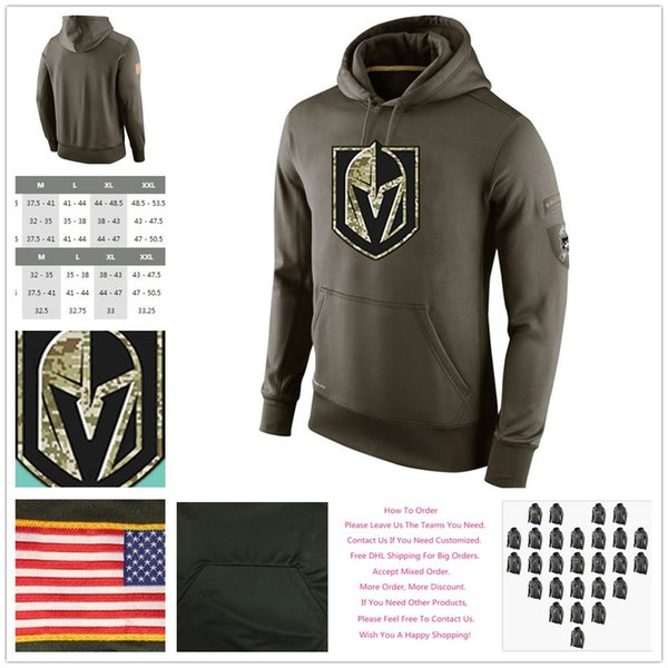 the best attitude 3e2e0 442c0 2019 Men'S Vegas Golden Knights Salute To Service Winter Warm Cold Weather  All Ice Hockey Sideline Army Green Sports Pullover Hoodies Sweatshirts From  ...