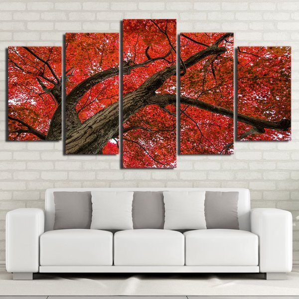 HD print 5 piece canvas art Red Maple Tree modern Modular pictures canvas wall art 2018 new dropshipping