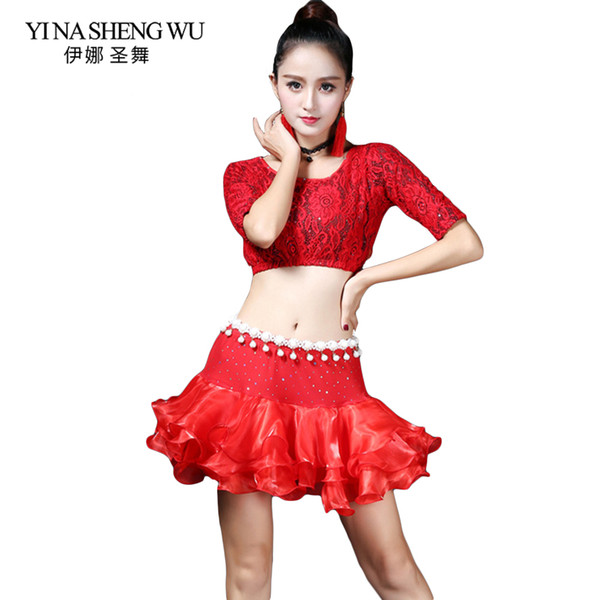 Latin Dance Clothes Fashion Dance Bubble Skirt Adult Latin Practice Suit Modern Costumes Half Sleeves Lace 2Pcs Set