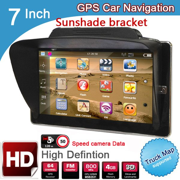 New 7 inch HD Car GPS Navigation 8GB/DDR3 2017 Maps For Europe/USA+Canada with Sunshade Sunshield bracket Truck Camper Caravan