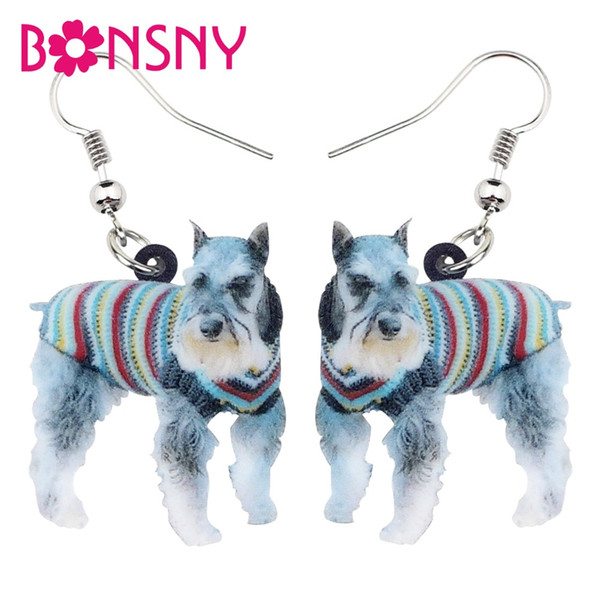 Acryl Mode Blauen Pullover Schnauzer Terrier Hund Ohrringe Baumeln Neue Cartoon Tier Schmuck Für Frauen Mädchen Charme