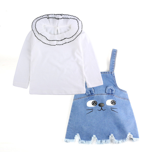 Newborn Cartoon Cat Girls Clothing Sets Spring Costume For Kids Lace Collar Blouse Strap Denim Dress Baby Girl Clothes Suits