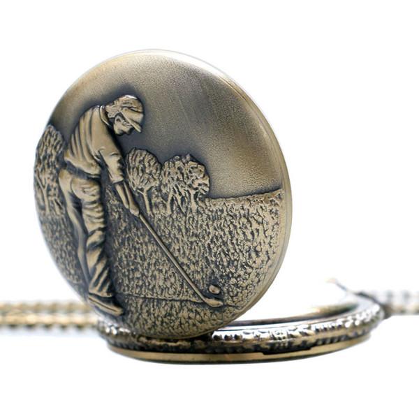 Golf Pattern Vintage Quartz Pocket Watch Copper Fob Clock Elegant Design Chain Gift for Women