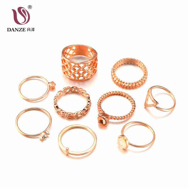 DANZE 9Pcs/Set Retro Midi Hollow Ring Set Rose Gold Finger Knuckle Rings for Women Valentine Anillos Valentines Day Gift Jewelry
