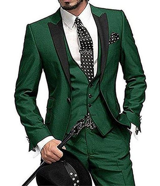 Alta calidad Un botón Verde oscuro Novio Esmoquin Peak Lapel Padrinos de boda para hombre Boda Negocios Trajes de baile (chaqueta + pantalón + chaleco + corbata) 338