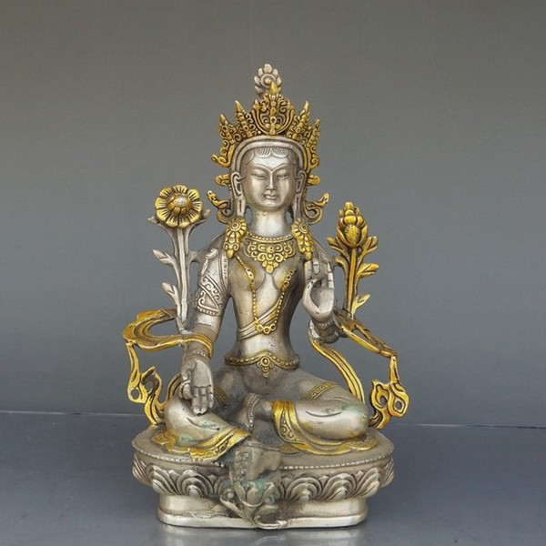 Chinese Exquisite Handmade Guanyin Copper-nickel alloy statue