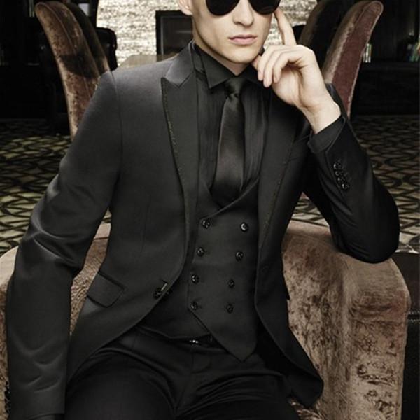 Customize Made latest coat pant designs peaked Lapel Wedding suits for Men tuxedos suits Black mens suits(Jacket+Pants+vest+Tie)