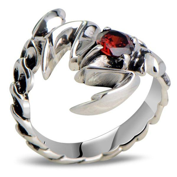 925 Sterling Silver Retro Scorpion king & Scorpio Garnet Open Ring Men Thai Silver Fine Jewelry Gift Finger Ring CH025321 Y1892607
