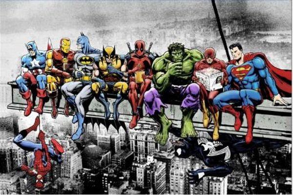 Смешное искусство Лига Справедливости супергерой Мстители Человек-паук без рамки холст Живопись картинки HD печать украшения ткани плакат