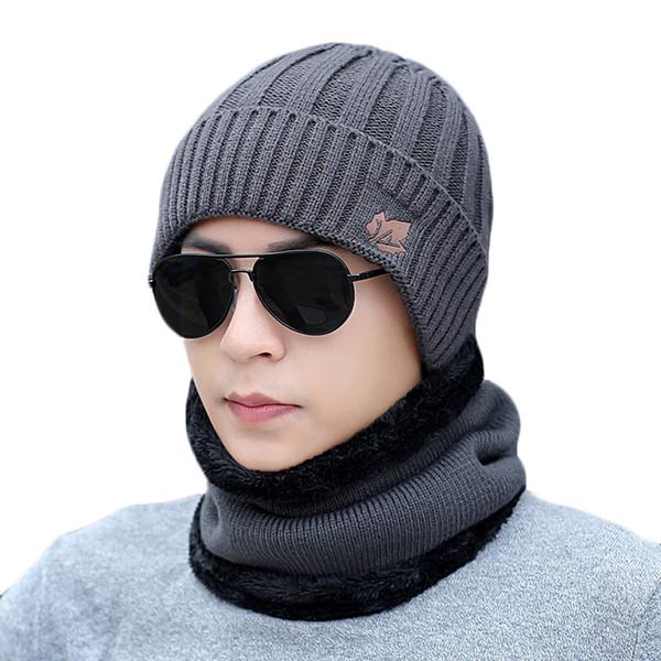Men Warm Hats Scarf Set Winter Knitting Hat For Male Lady Beanie Scarves Knitted Plus Velvet Hat Women Hats Ring Scarf 2Pcs Set