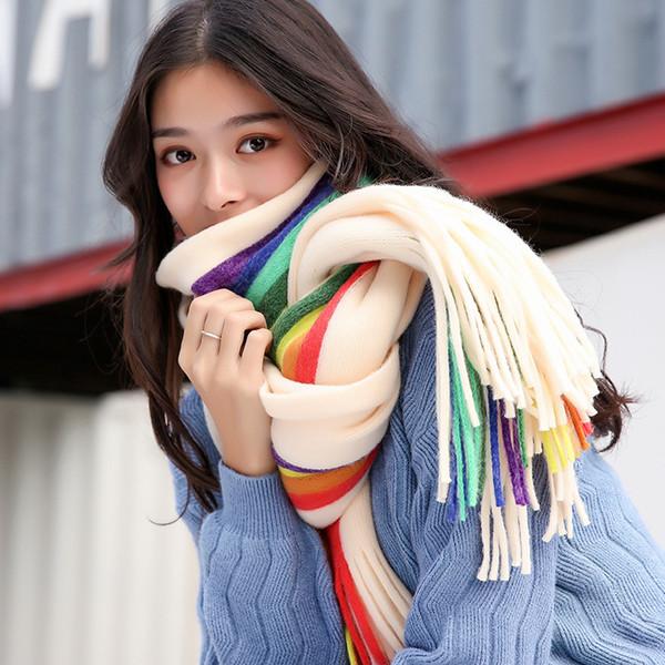 2018 mujeres nueva moda estudiantes coreanos arco iris bufanda de doble cara cálida imitación de cachemira de doble uso invierno engrosamiento collar salvaje