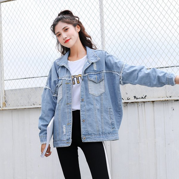 Ailegogo Autumn Winter Denim Jacket Coat Women Casual Streetwear Pocket Long Sleeve Jackets Light Blue Button Female Outwear