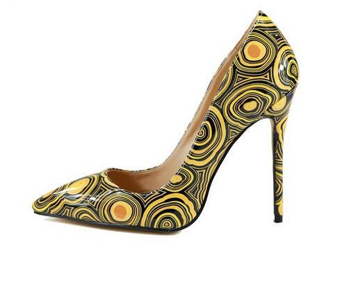 35fc8d22523e1 Yellow Printed Patent Leather Women Pumps Sexy Pointed Toe Night Club Party  Shoes Shallow 12cm High Heels Women Shoes Bridesmaid Shoes Pumps Shoes ...