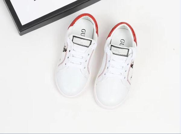 Hong Fashionable Bursting Designer Brand Children Small White Shoes Printing Girls And Boy Delicate Sneaker Casual Joker