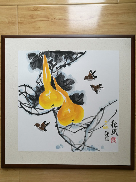 Handpainted Chinese painting---home decoration -Gourd-Autumn, Framed