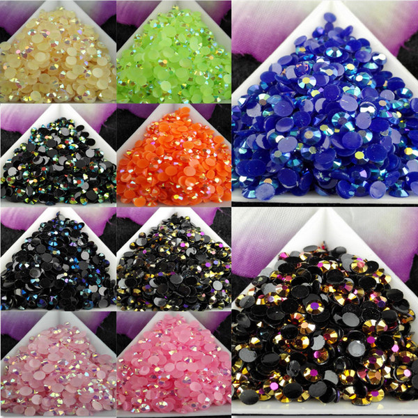 top popular 5000pcs bag SS16 4mm Color Jelly AB Resin Crystal Rhinestones FlatBack Super Glitter Nail Art Strass Wedding Decoration Beads Non HotFix #2 2021