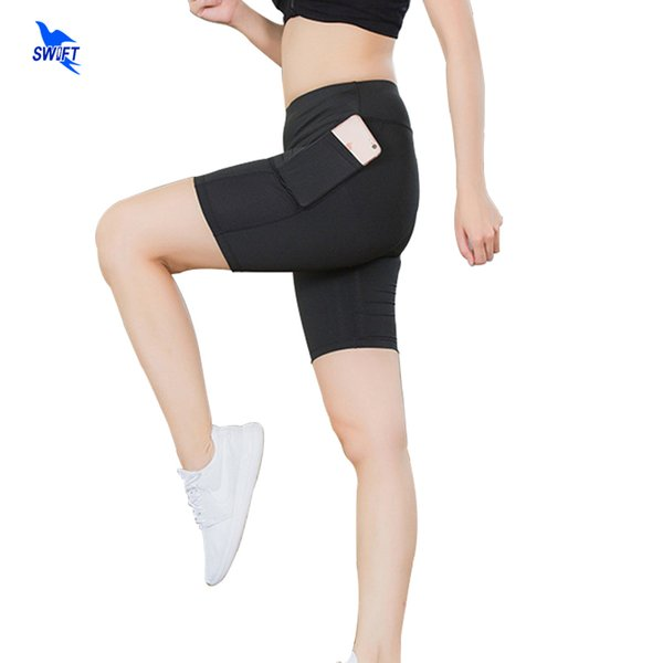 Quick Dry Summer Women Compression Shorts Elastic Running Fitness Gym Yoga Short Tights With Pocket Patchwork Workout Leggings