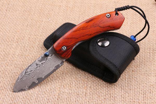 Lo nuevo VG10 Damasco Mini tamaño plegable al aire libre cuchillo de bolsillo 57HRC Cuchillo de madera mango táctico EDC utilidad supervivencia cuchillos herramientas de mano P225F