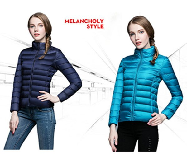 best selling Wholesale 2018 Winter Jacket Women Ultralight Down Coat Women's White Duck Down Content 90% Collar Winter Coat Color 13 Size S-3XL