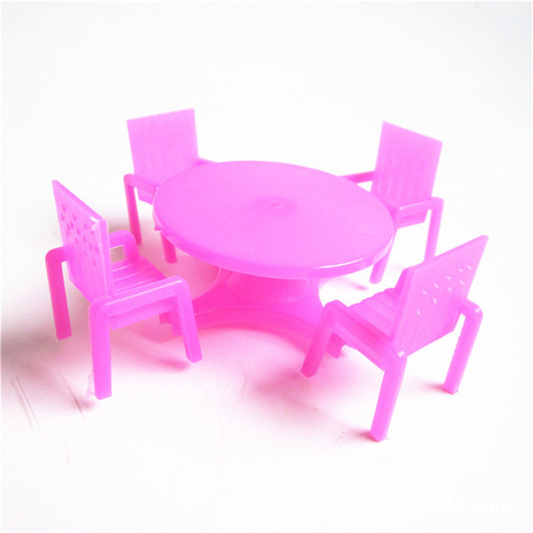 Rose Dollhouse 1/12 Scale Miniature Dining Chair Table Furniture Set For Doll House Kitchen Furniture Toys Whosesale