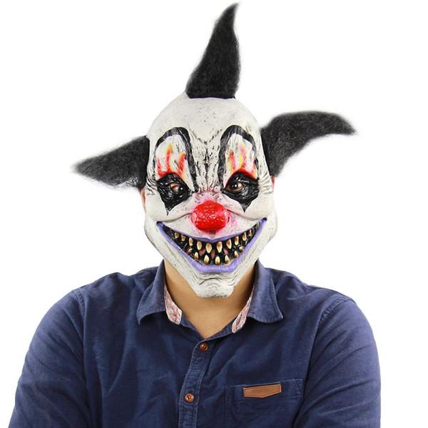 Masque de clown effrayant diabolique effrayant Halloween masque de clown adulte fantôme fête fête masque fournitures Fourniture décoration D1
