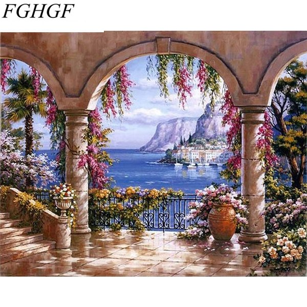 FGHGF Europe Seascape DIY Painting By Numbers Kits Acrylic Painting On Canvas Abstract Oil For Wall Art Picture