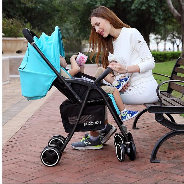 Bebek puset katlama oturabilir oturmak yüksek manzara Uygun Katlanır katlama Tek el katlanabilir arabası Iki yönlü bebek arabasından