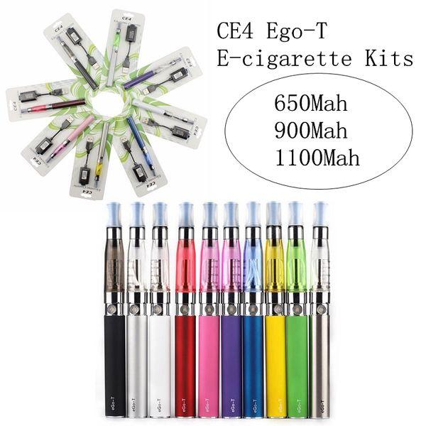 Hot Sale EGO-T CE4 Cartridges E-cig Kits Vape Oil Vaporizer 650mah 900mah 1100mah Battery Vape With USB Charger Blister Kit Atomizer EEC003