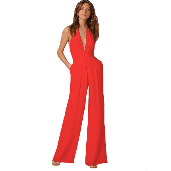 Elegant Office Jumpsuits Deep V-Neck Backless Evening Party Rompers Overalls for Women Long Wide Leg Pants Red Bodysuits Pockets