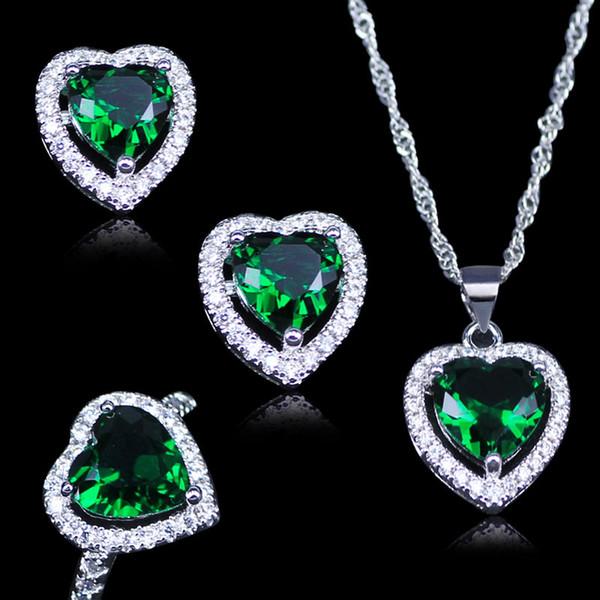 LB Russian Heart Green Creato Emerald White Zircon 925 Stamp Silver Color Jewelry Set Orecchini pendenti Anelli Collana