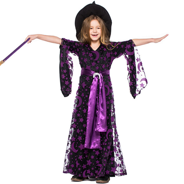 Girls Black Star Moon Stamp Witches Dress Costumes Suit With Hat For Children Halloween Party Dress Costume Cosplay