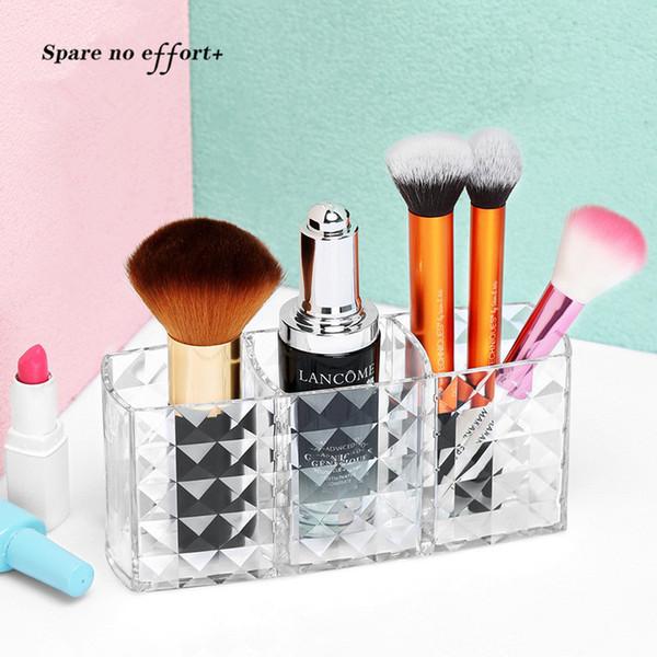 Free Shipping Acrylic Makeup Organizer 3 Gird Makeup Storage Plastic Box for Lipstick Eyeliner Makeup Brush Cajas Almacenamiento
