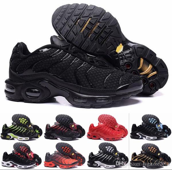 2018 New TN Men Running Shoes Tns Plus Air Fashion Mayor ventilación Ventiladores casuales Azul oliva negro para hombre Diseñador Zapatillas de deporte Chausseures